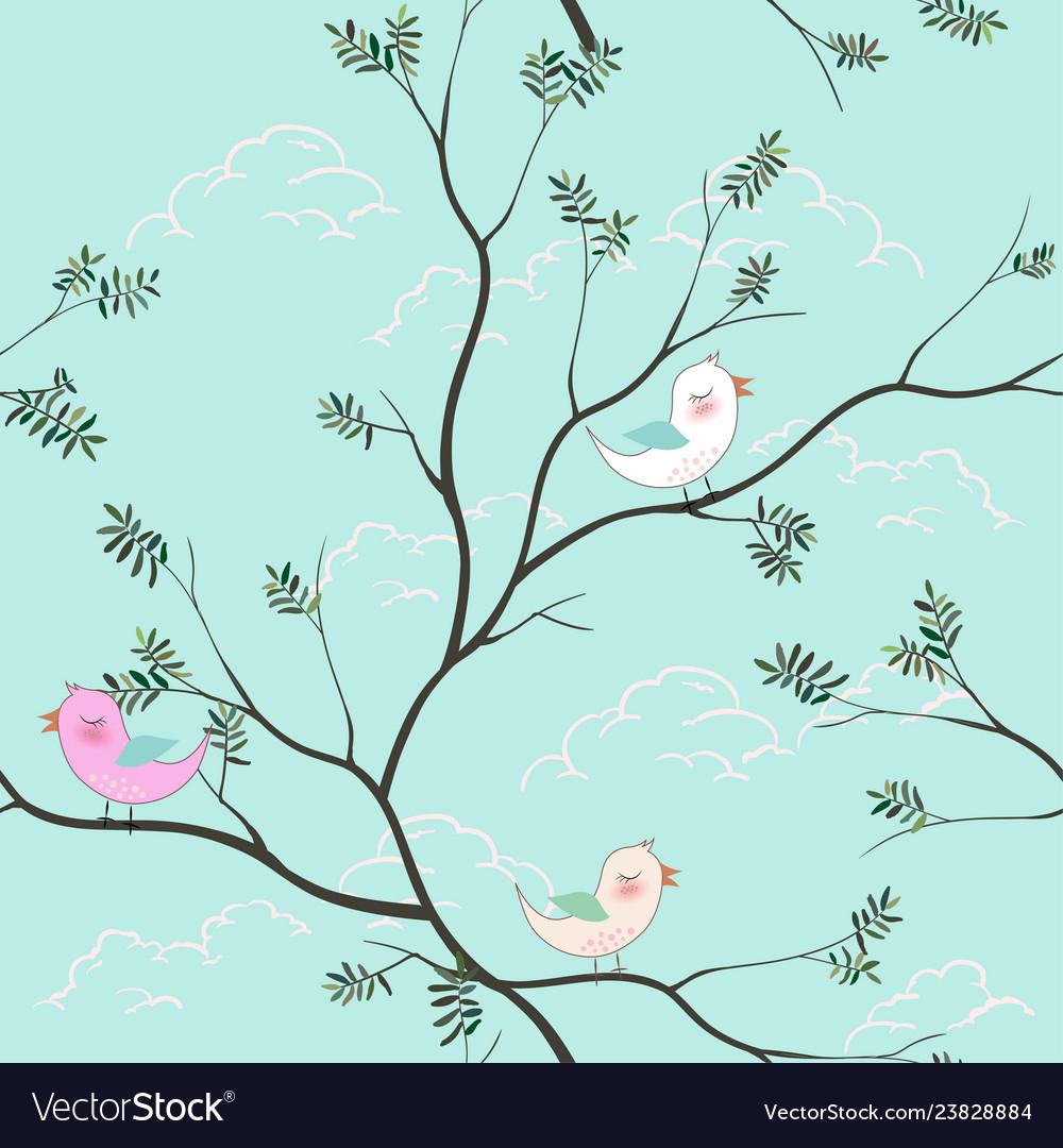 Cute birds cartoon seamless pattern on soft blue