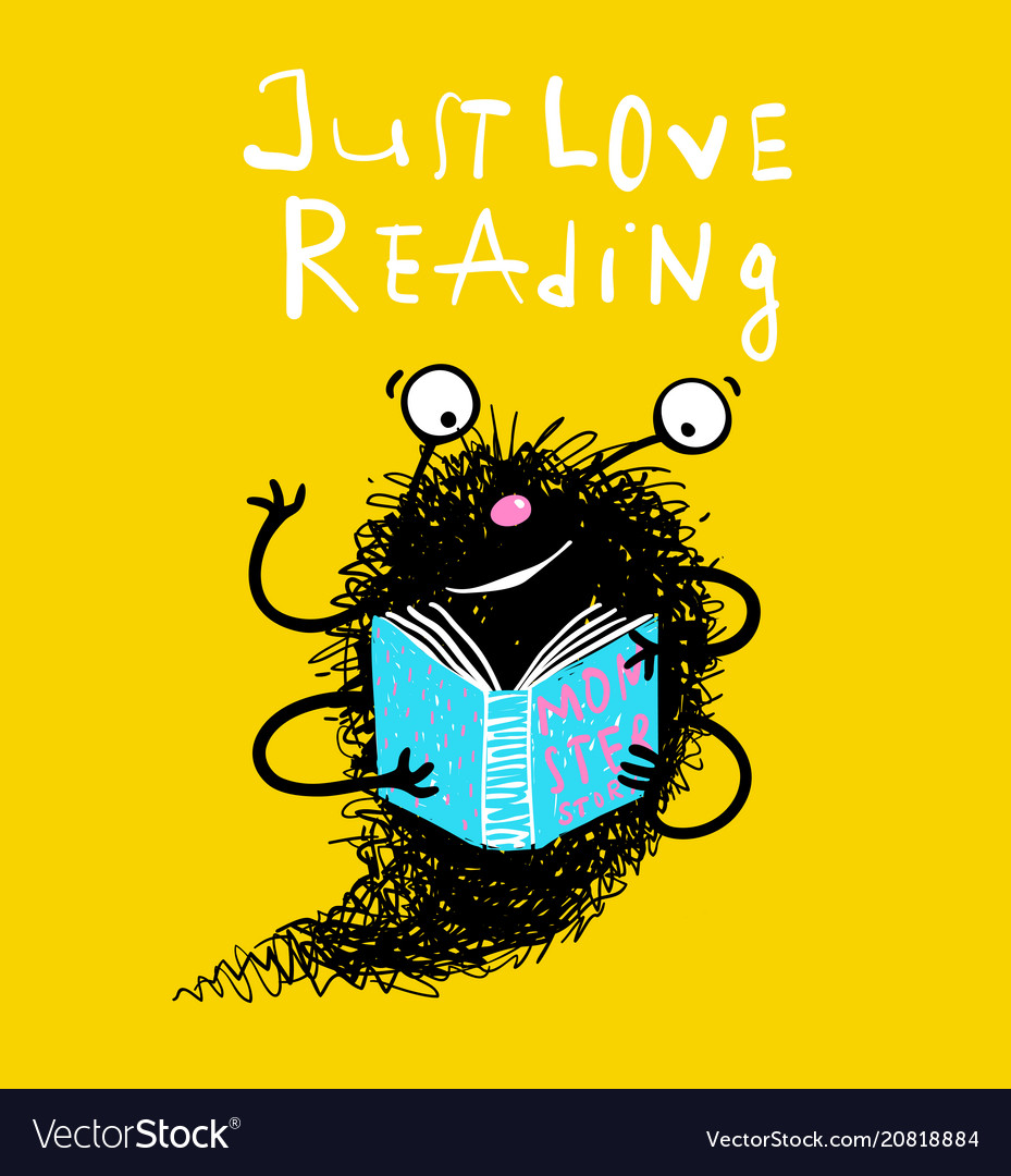 Cute reading book monster mascot for kids