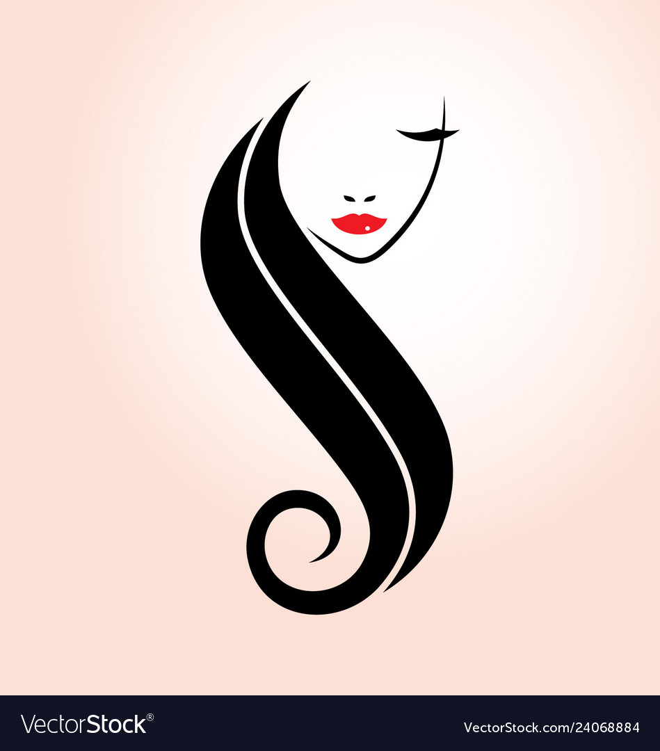 Hairstyle logo design with silhouette style Vector Image