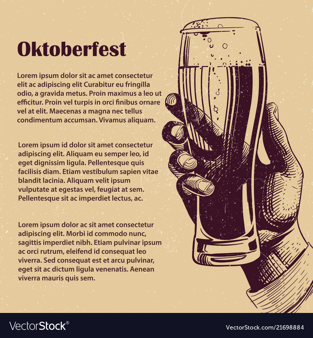 Hand with glass of beer oktoberfest banner