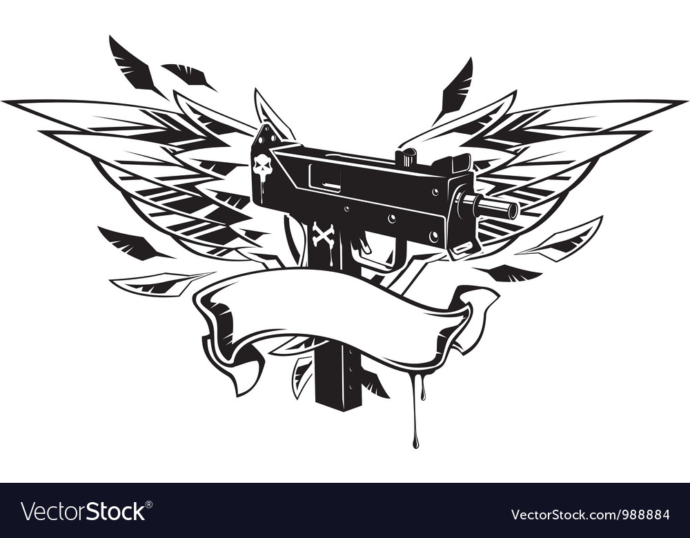 Machine gun with wings and ribbon vector image
