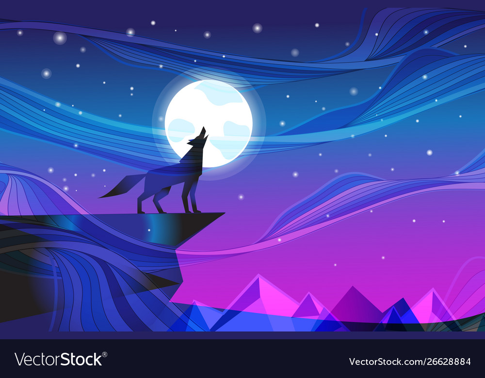 Night landscape with howling wolf at moon