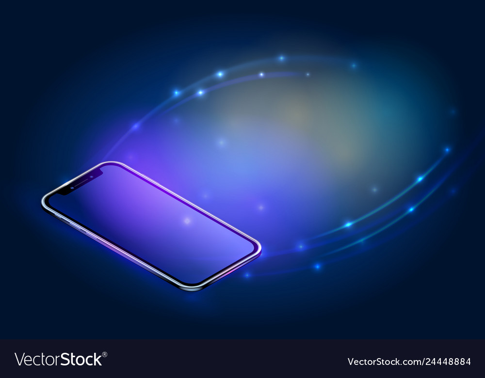 Realistic isometric smartphone concept digital