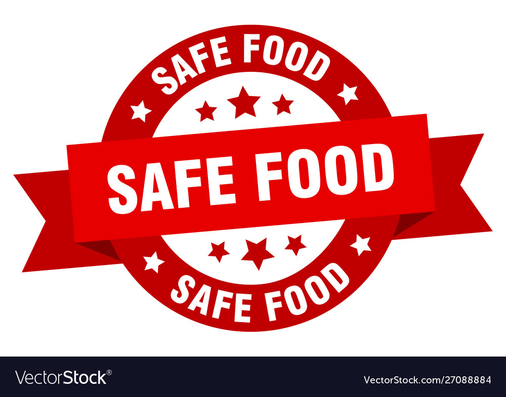 Safe food ribbon safe food round red sign safe