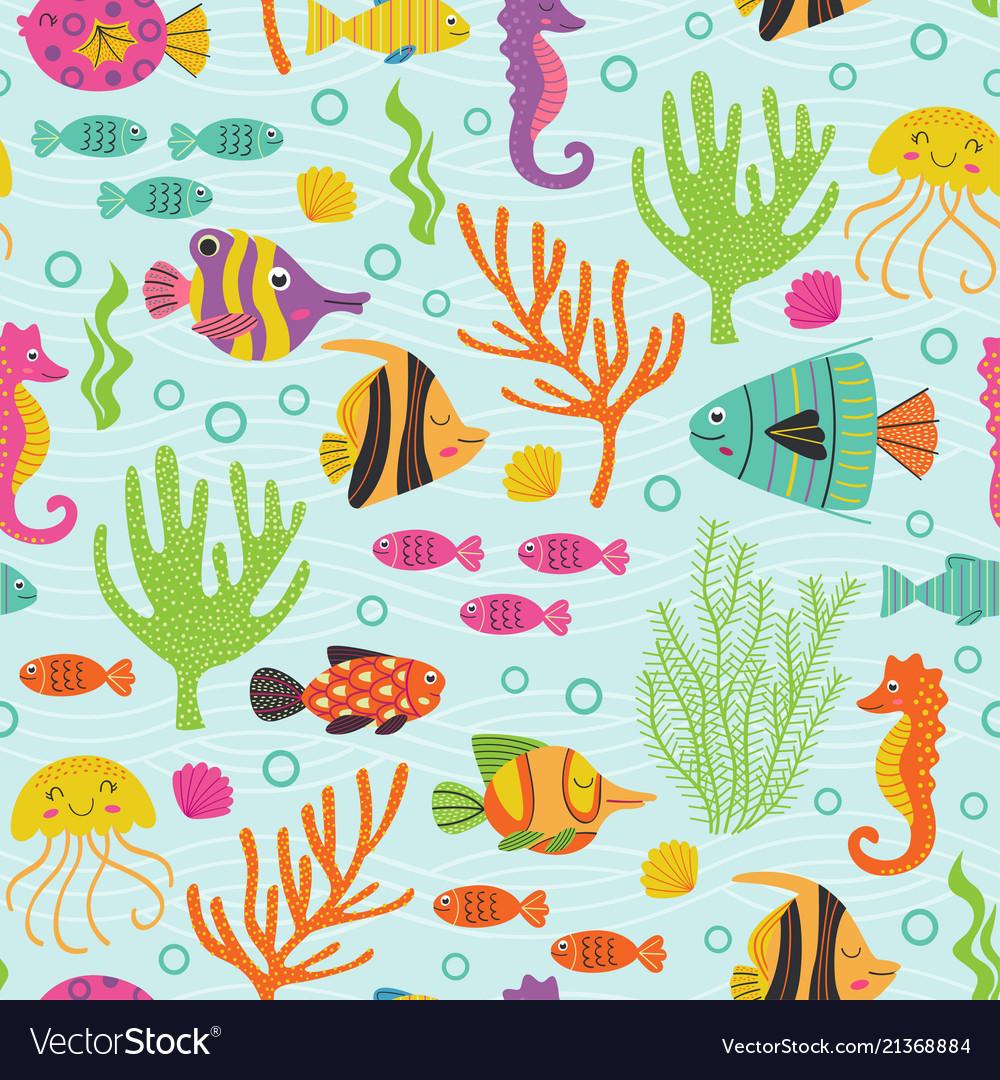 Seamless pattern under the sea with marine animals