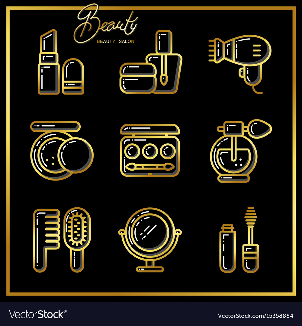 Set of beauty cosmetics icons drawn in gold lines
