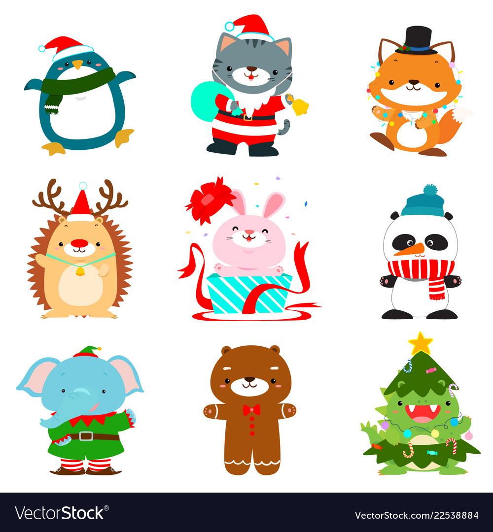 Set of cute christmas animal characters
