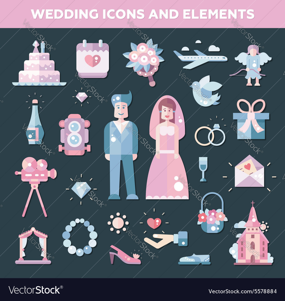Set of flat design wedding marriage icons and