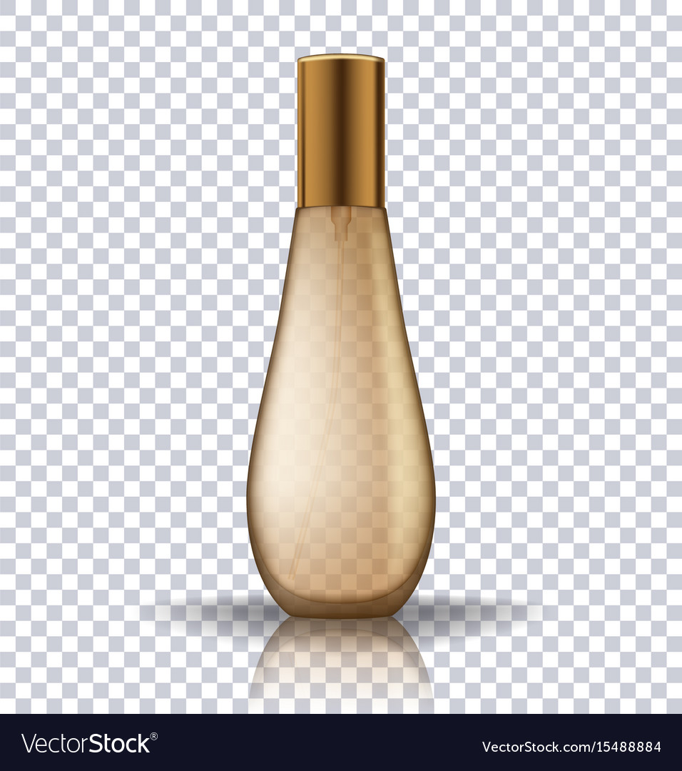 Transparent gold perfume cosmetic bottle