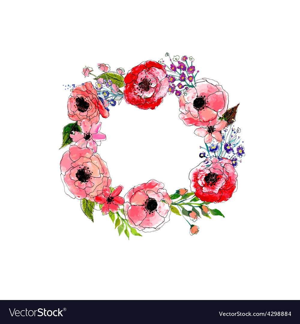 watercolor flowers wreath royalty free vector image