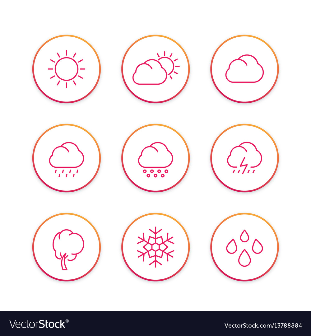 Weather line icons set forecast elements sunny vector image