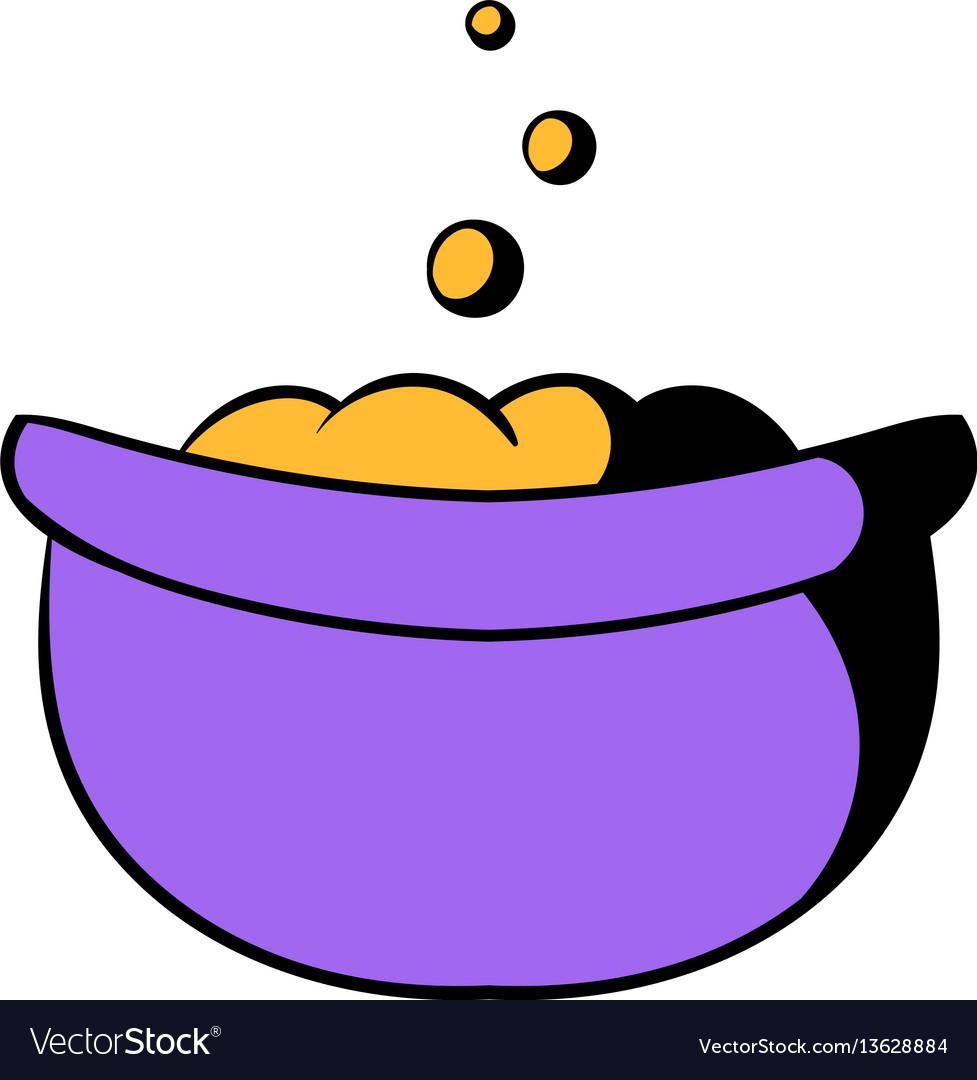 Witch cauldron with potion icon cartoon