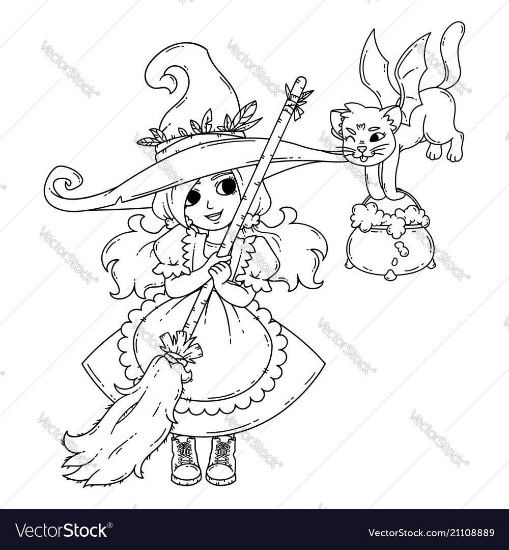 A little witch with a broom a cat and a pot