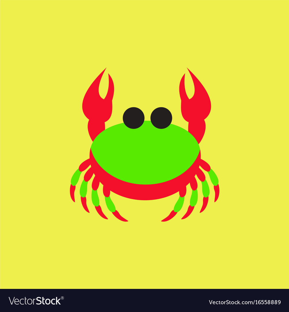 Crab in cartoon style seafood product design