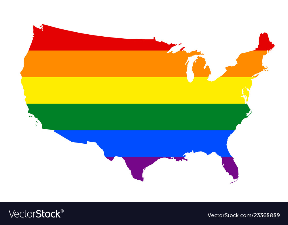 Lgbt flag map of united states of america rainbow