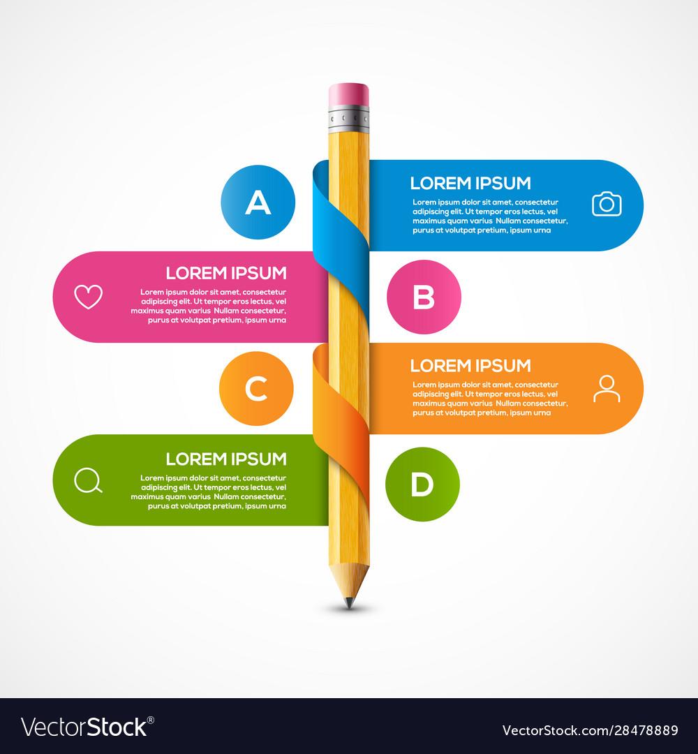 Pencil info graphic design template pencil