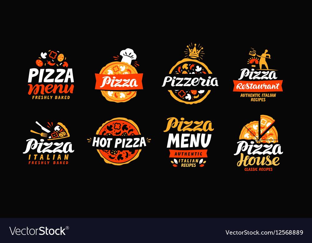Pizza logo Collection labels for menu design