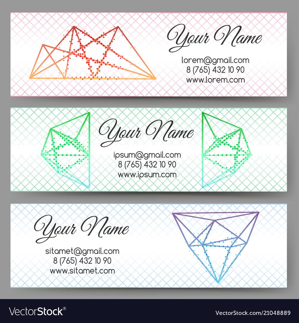 Polygonal shapes banners set