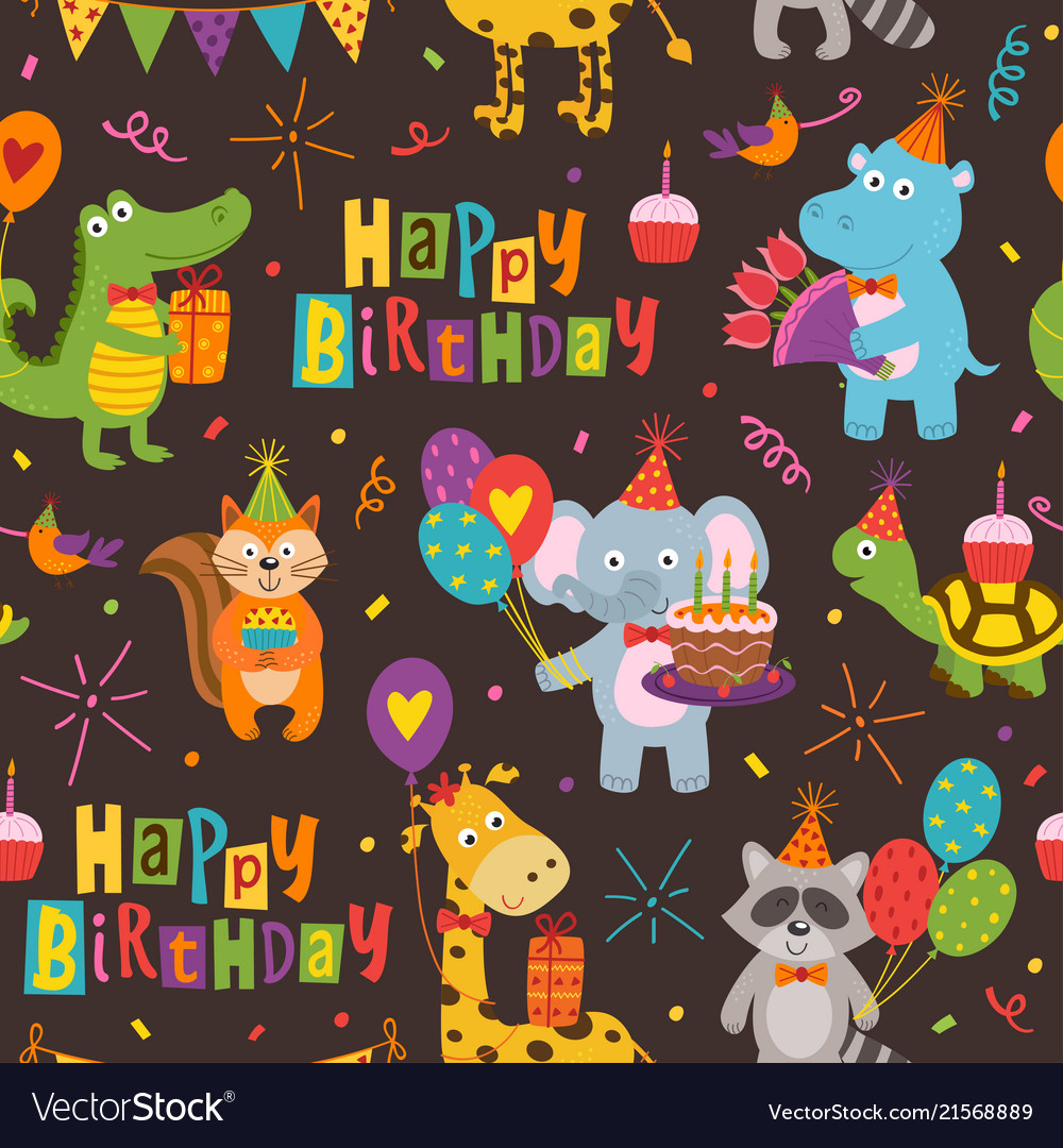Seamless pattern with funny animals happy birthday