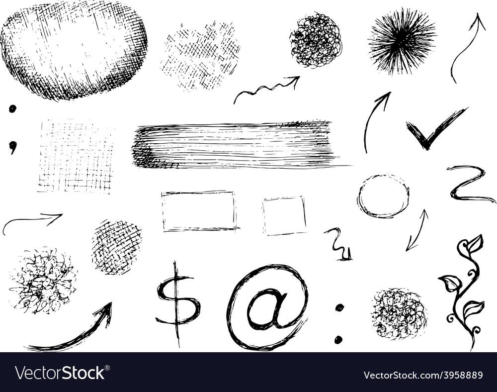 Set Of Hand Drawn Shapes Signs And Symbols Vector Image