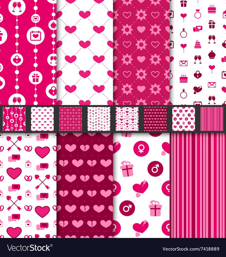 Set seamless backgrounds valentine day pattern