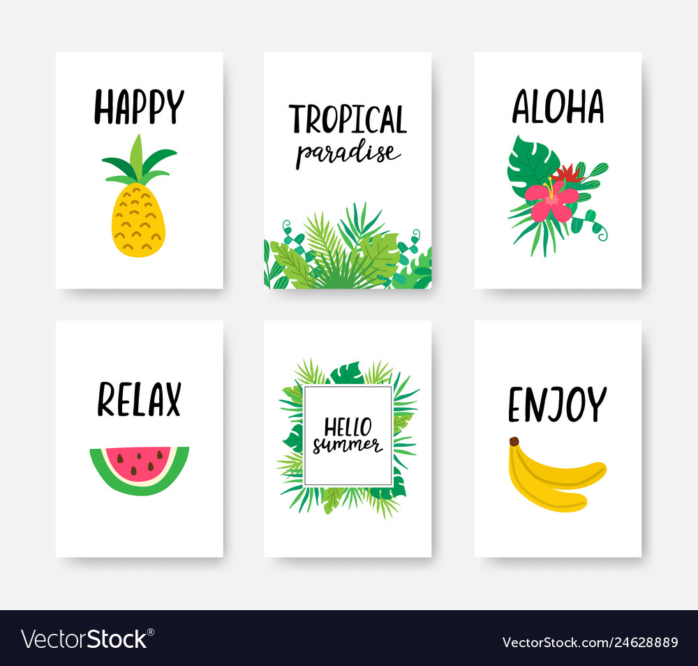 Summer tropical poster a4 set with hand drawn