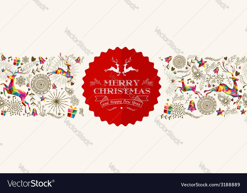 Vintage Christmas reindeer greeting card vector image
