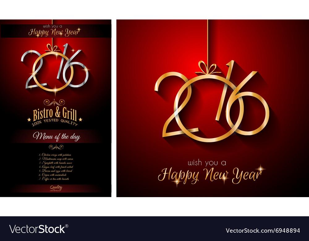 2016 Happy New Year Restaurant Menu Template