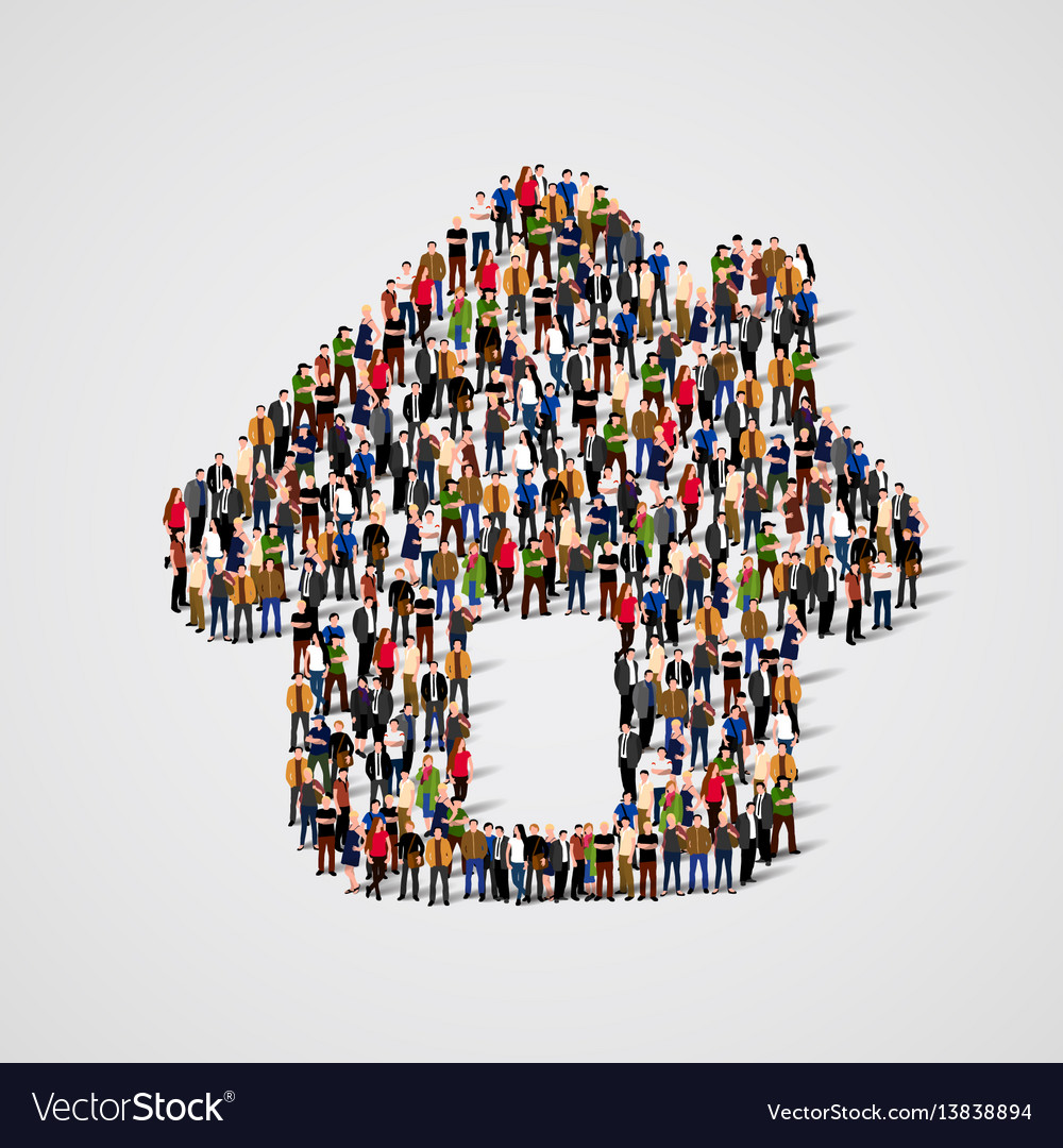 A group of people in a shape of house icon