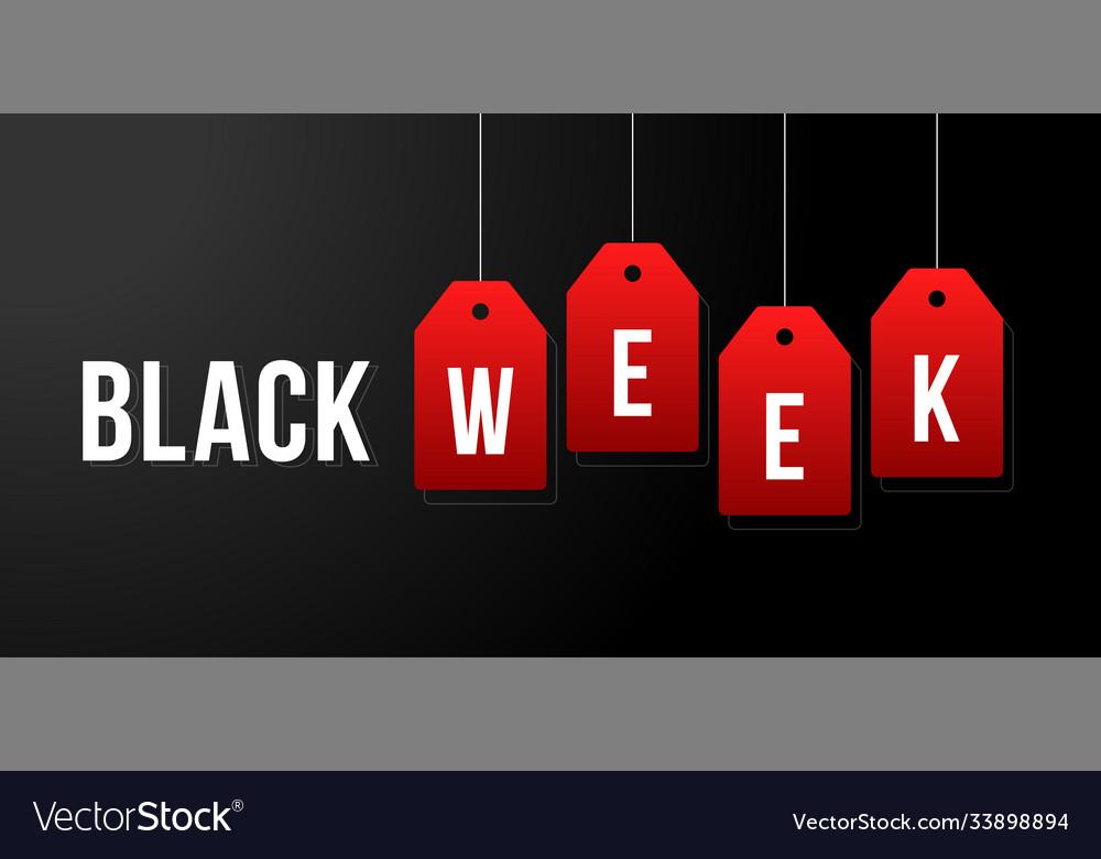 Black week week sale white tags