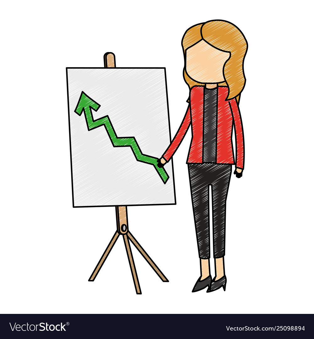 Businesswoman showing statistics scribble