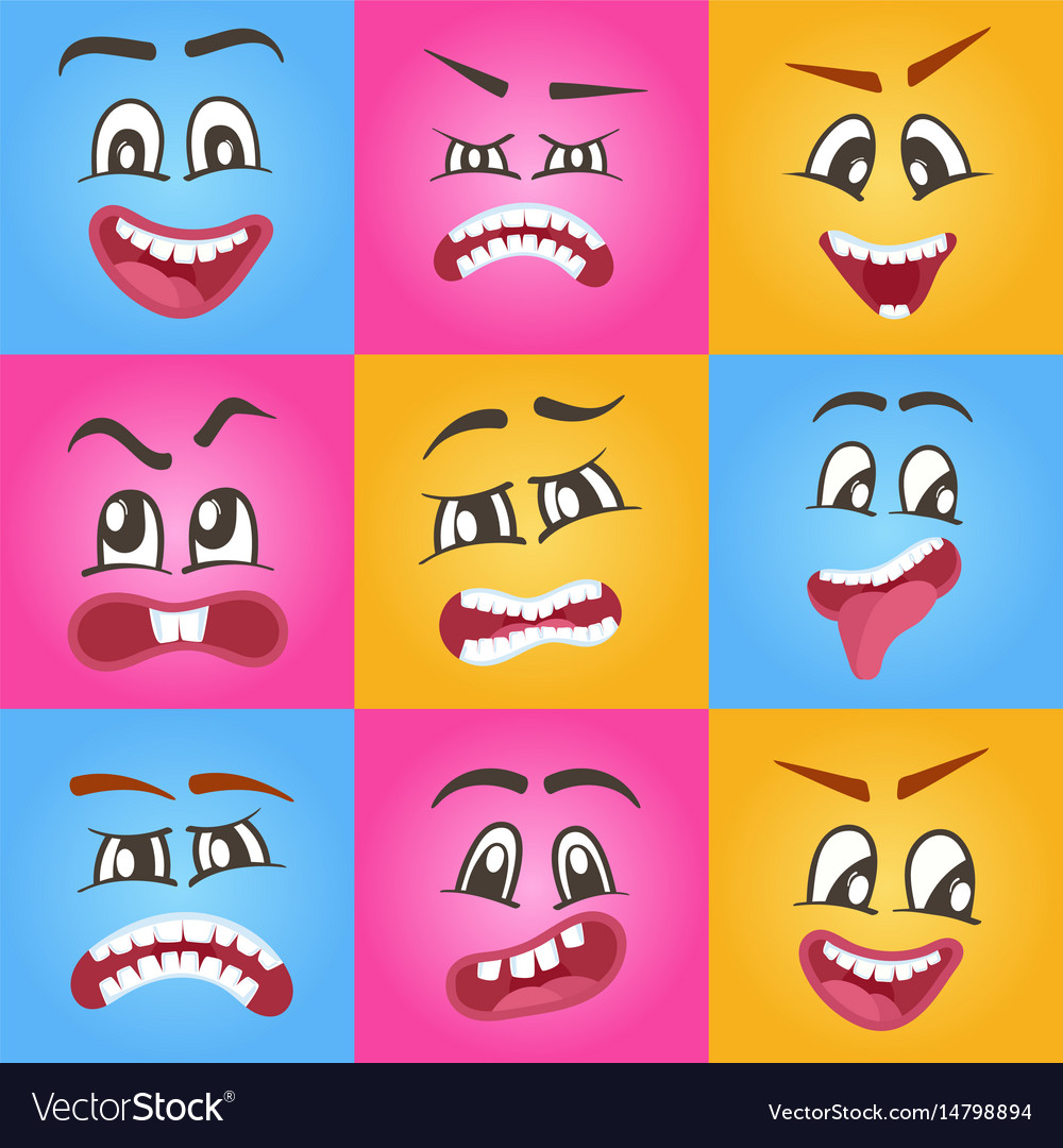 Emoticons or funny smileys icons set vector image