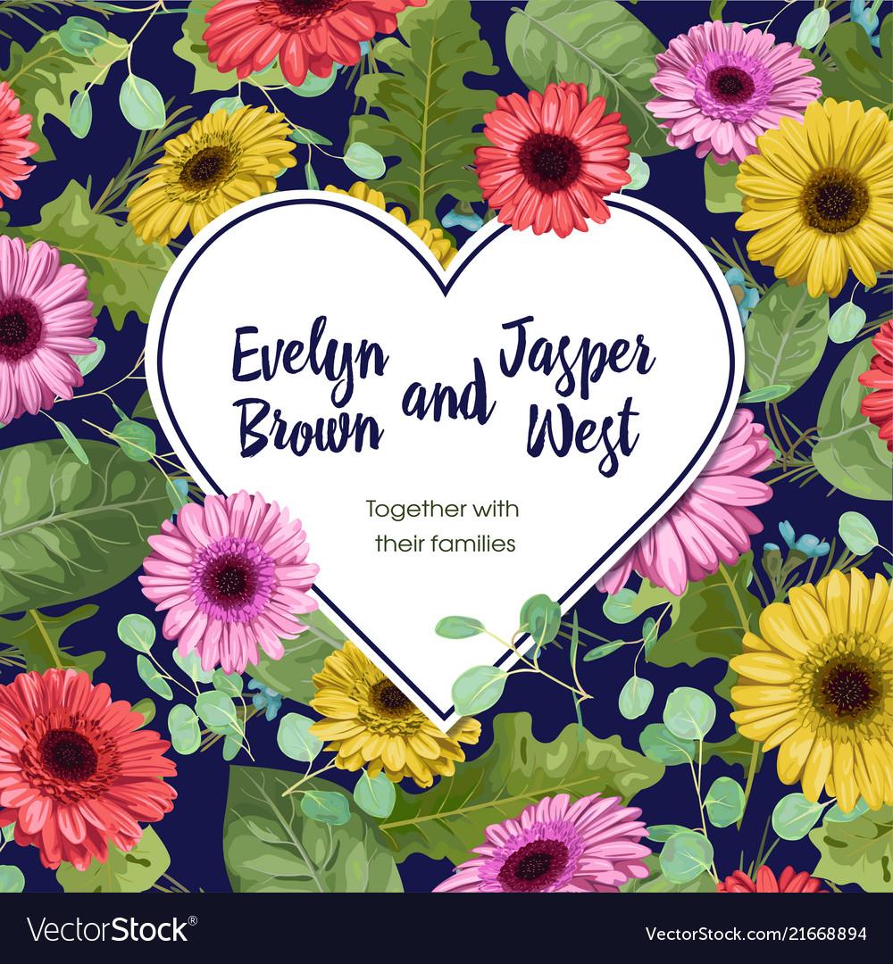 Flower heart for wedding invitation saint