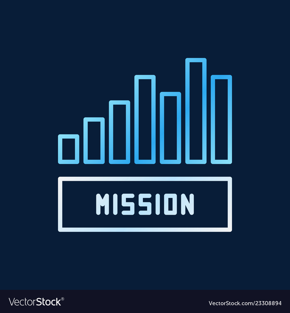 Mission bar chart creative outline icon