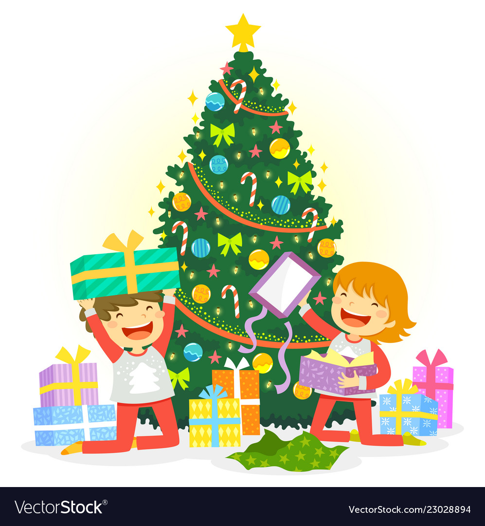 Christmas Presents.Opening Christmas Presents