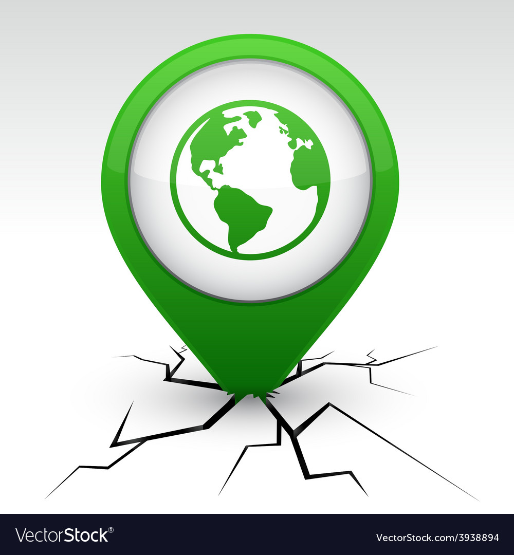 Planet green icon in crack