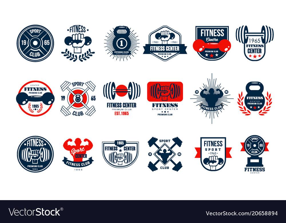 Set original gym logo templates emblems