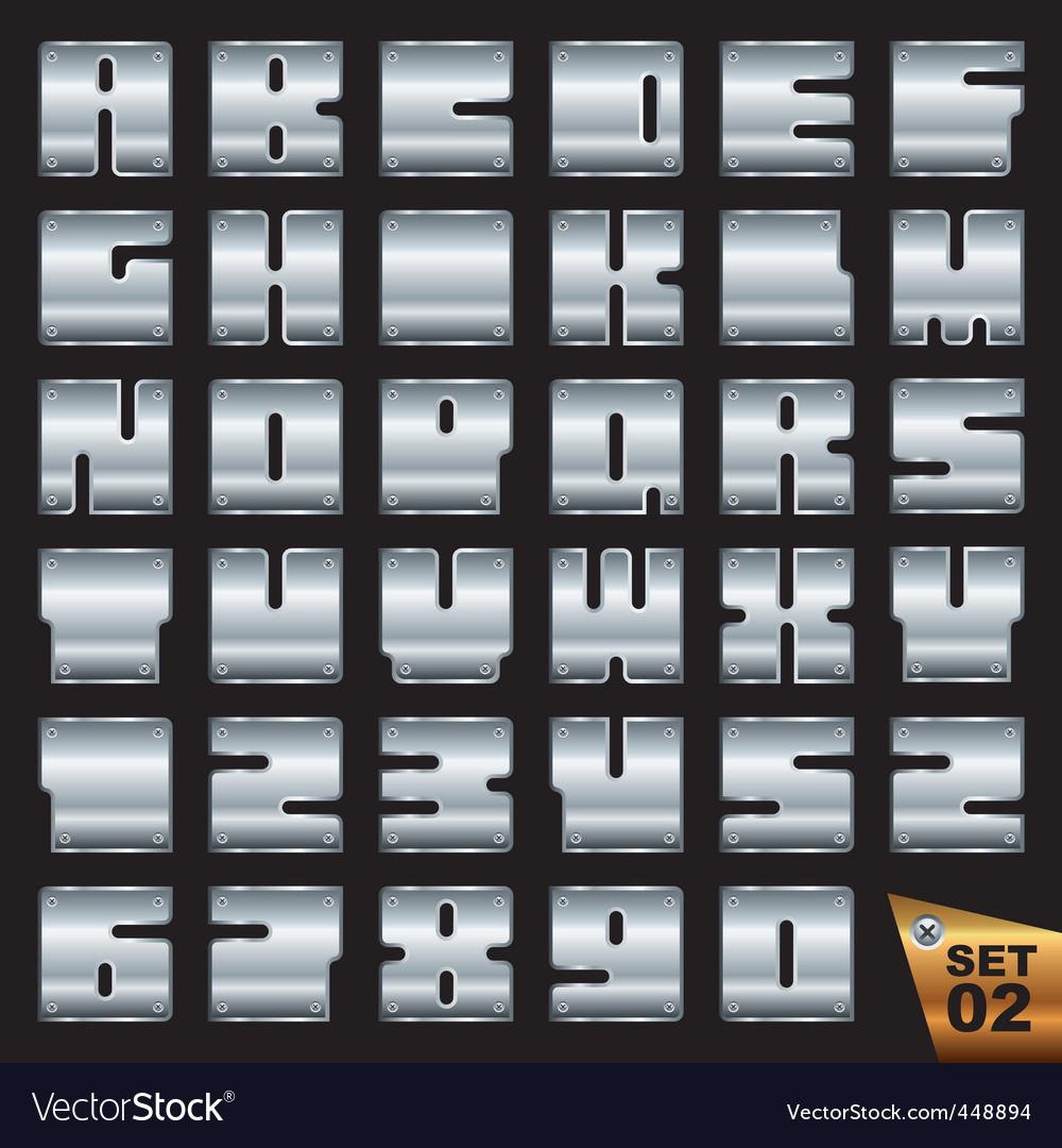 Silvel font set vector image
