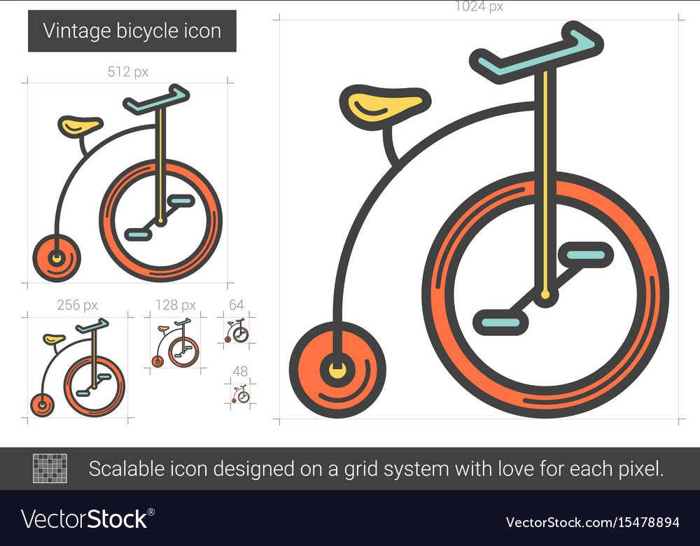 Vintage bicycle line icon