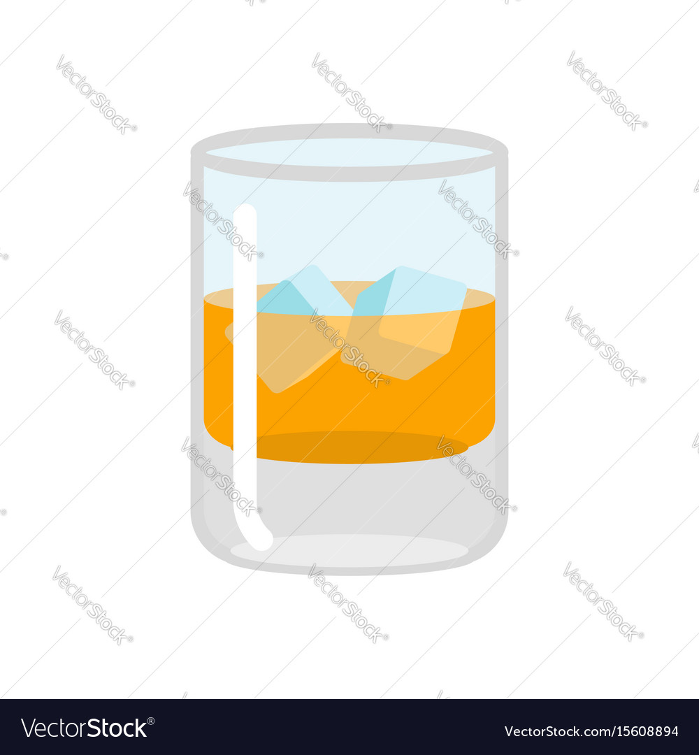 Whiskey and ice glass of scotch on rocks drink on