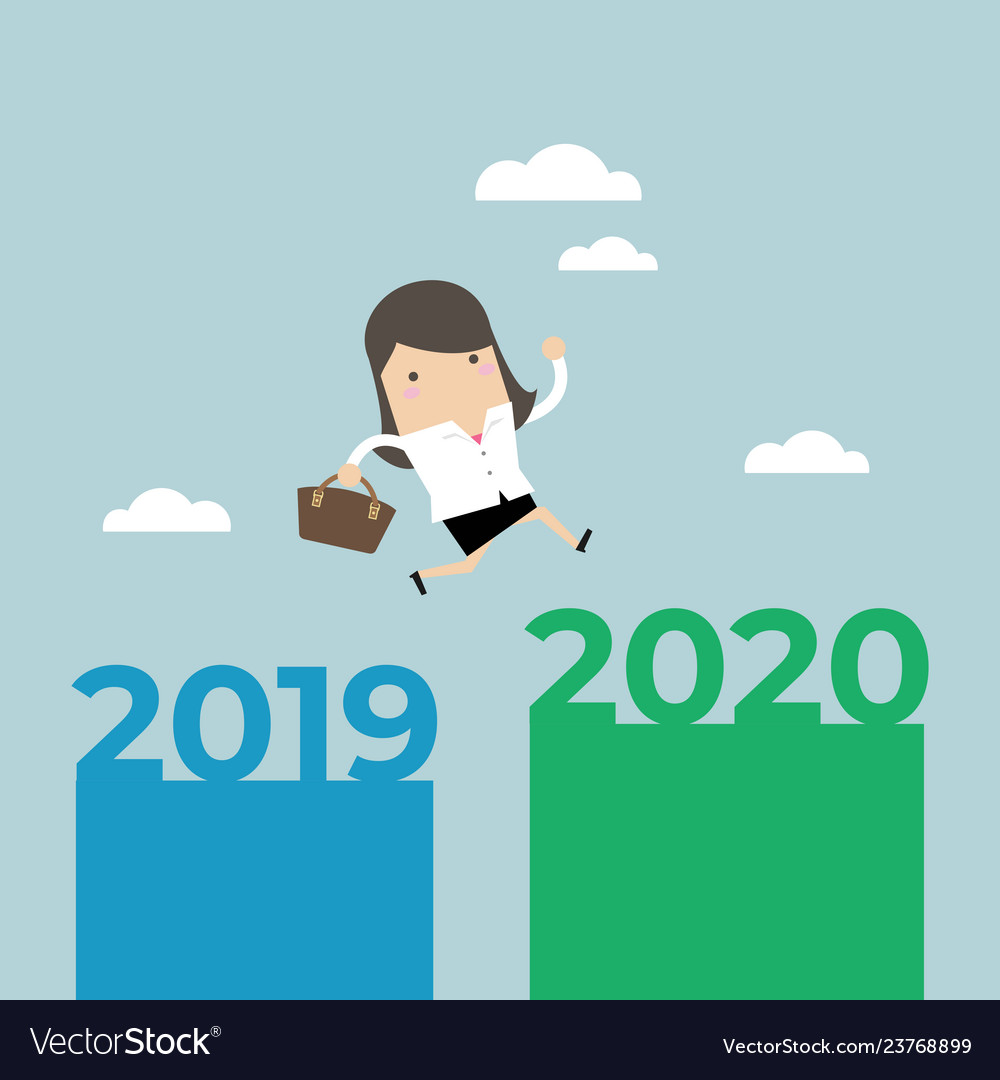 Businesswoman jump from 2019 to 2020
