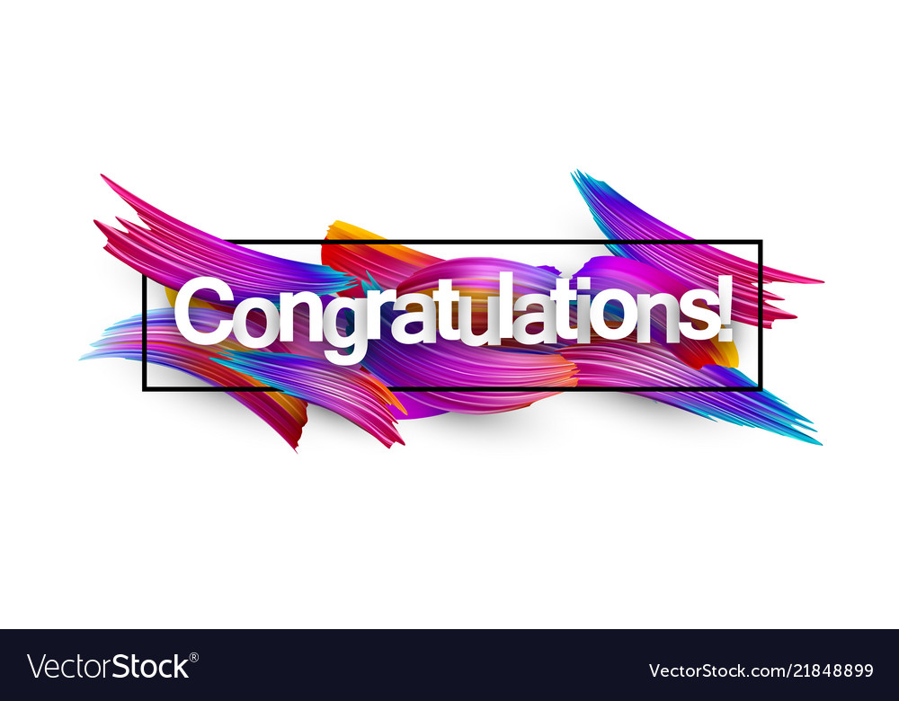 Congratulations paper banner with colorful brush