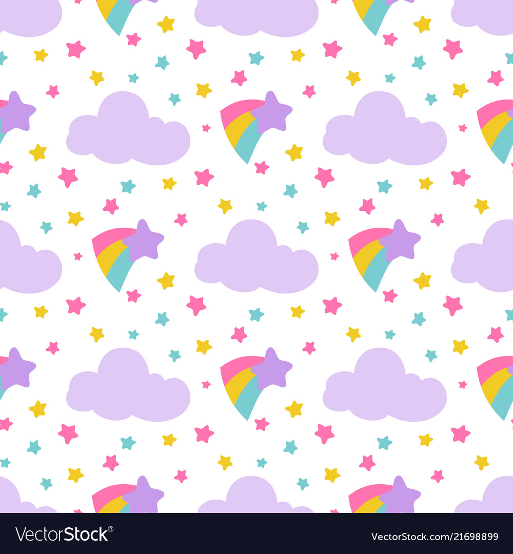 Cute baby seamless pattern with stars clouds