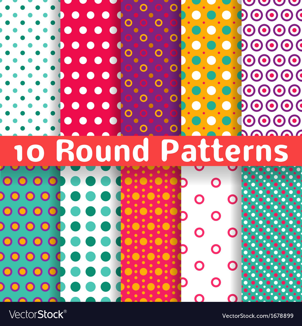 Different round shape seamless patterns tiling