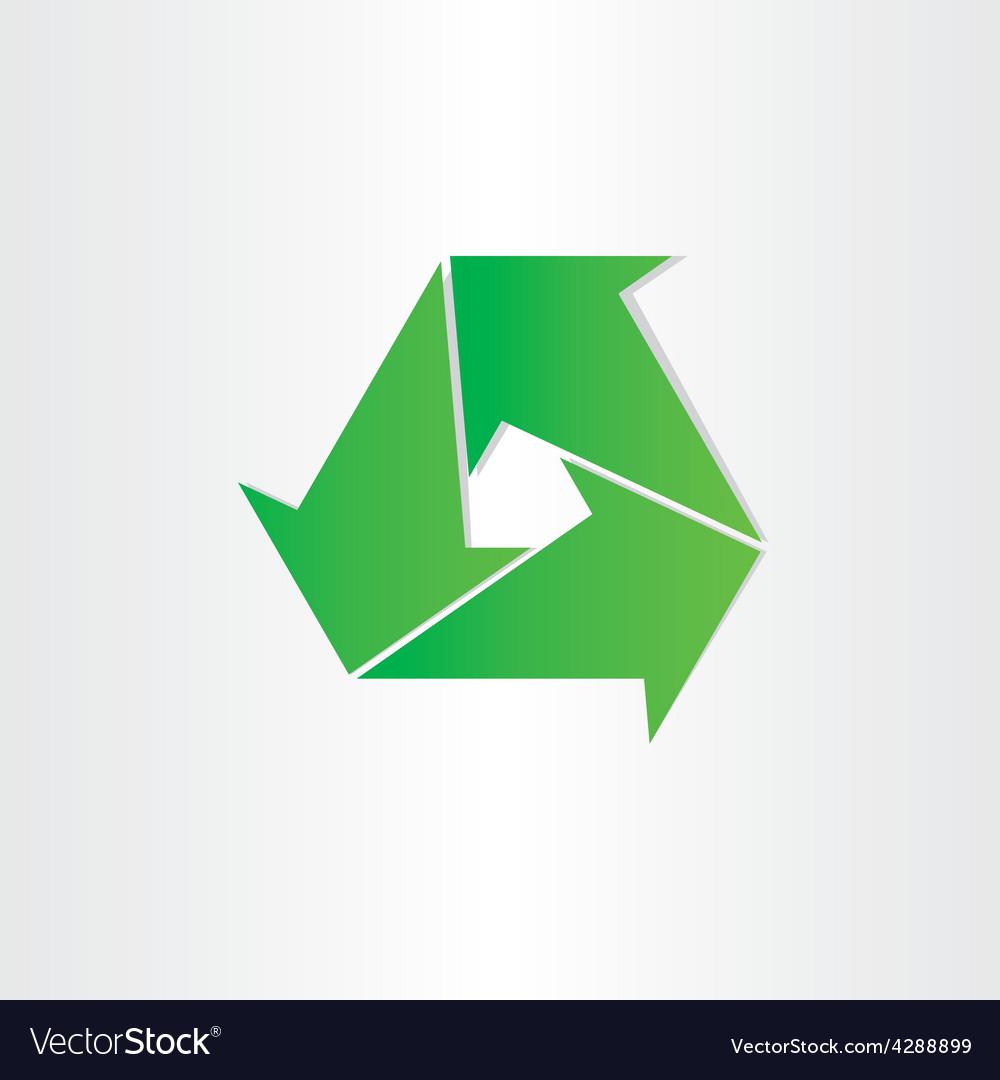 Eco recycle symbol green arrows vector image