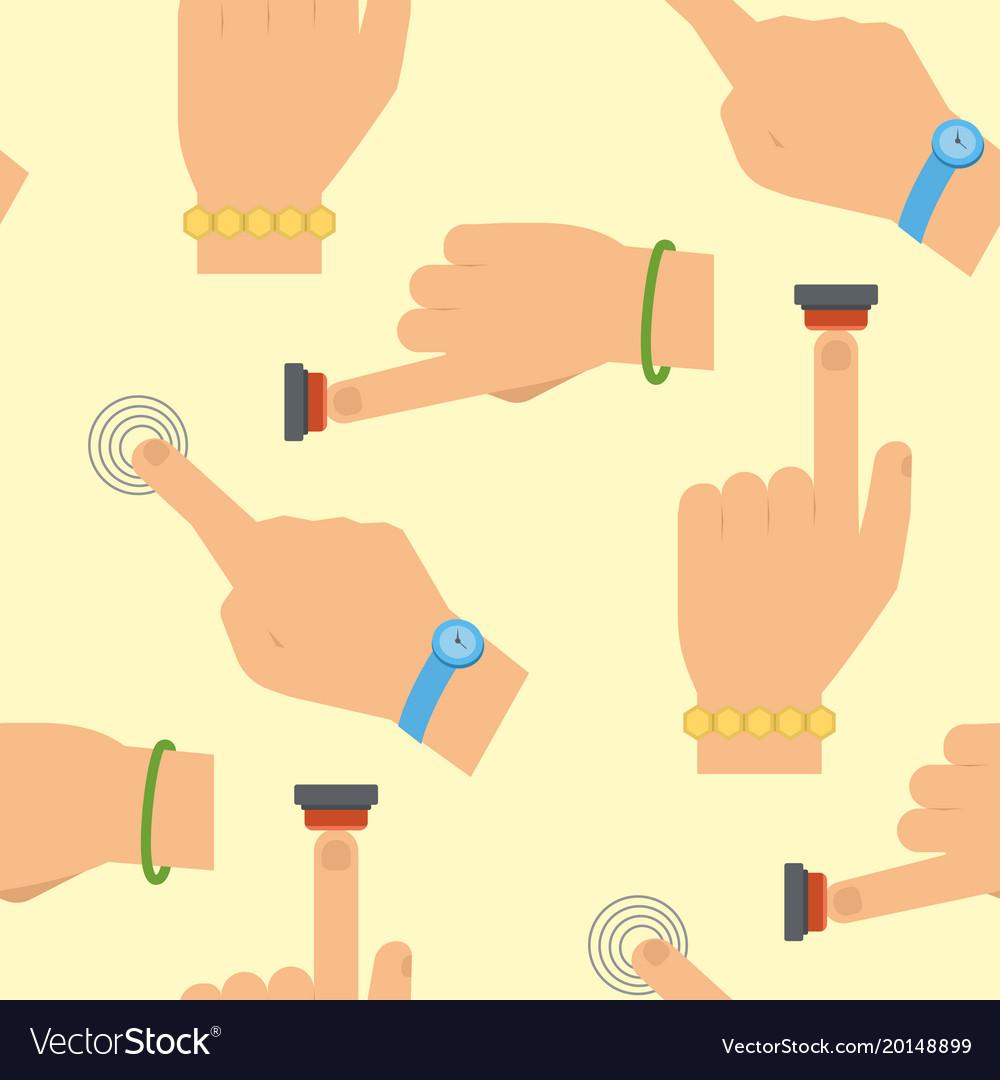 Hand press red button finger control start