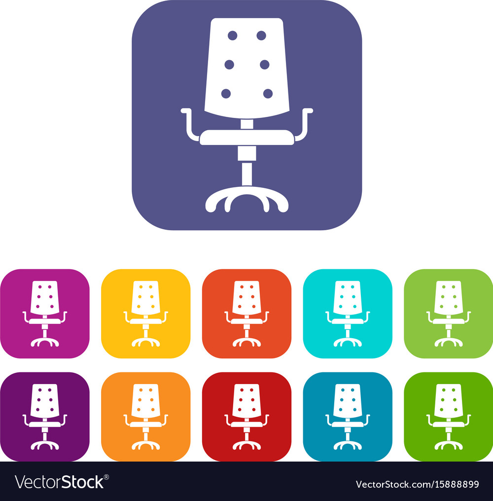 Office chair icons set flat