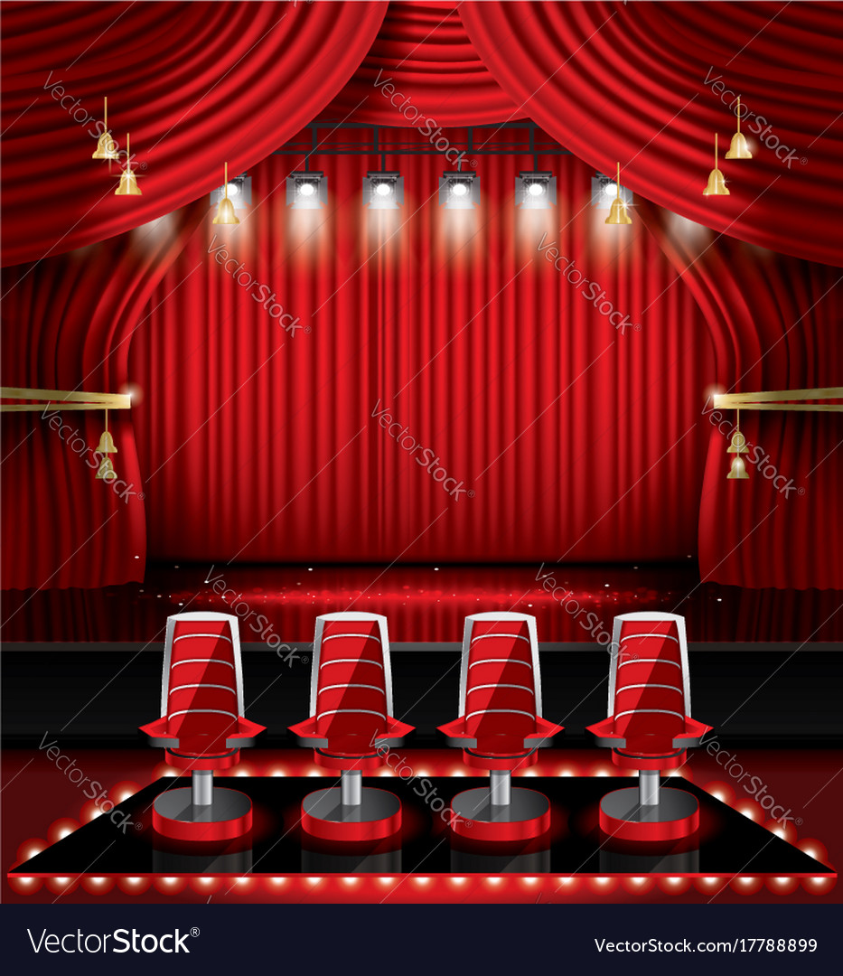 Red stage curtain with spotlights and four chairs