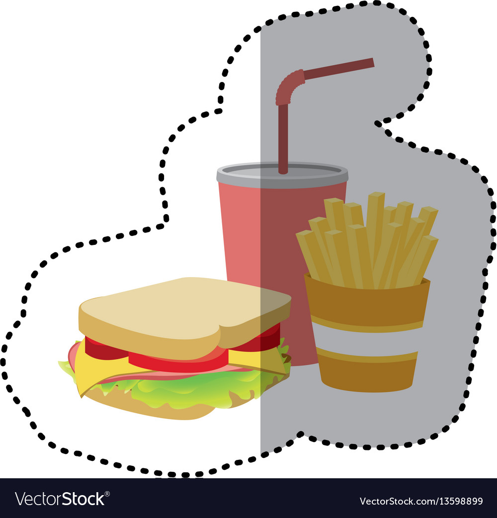 Sandwich soda and fries french icon