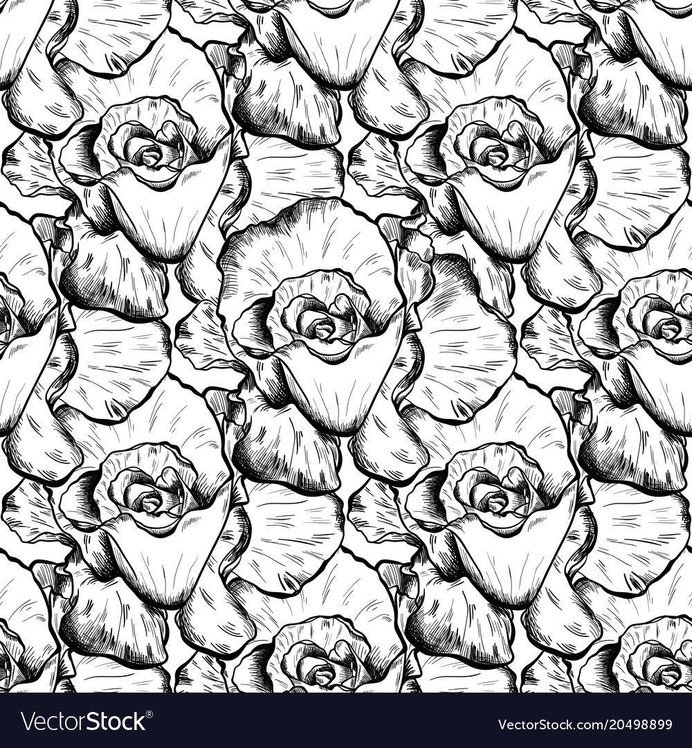 Seamless pattern of highly detailed hand drawn